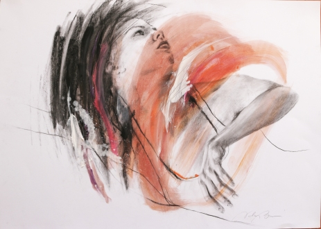 Dancer No. 3, charcoal and oil on paper, 50x70 cm