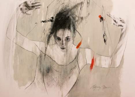 Figure No. 5, charcoal and oil on paper, 50x70 cm