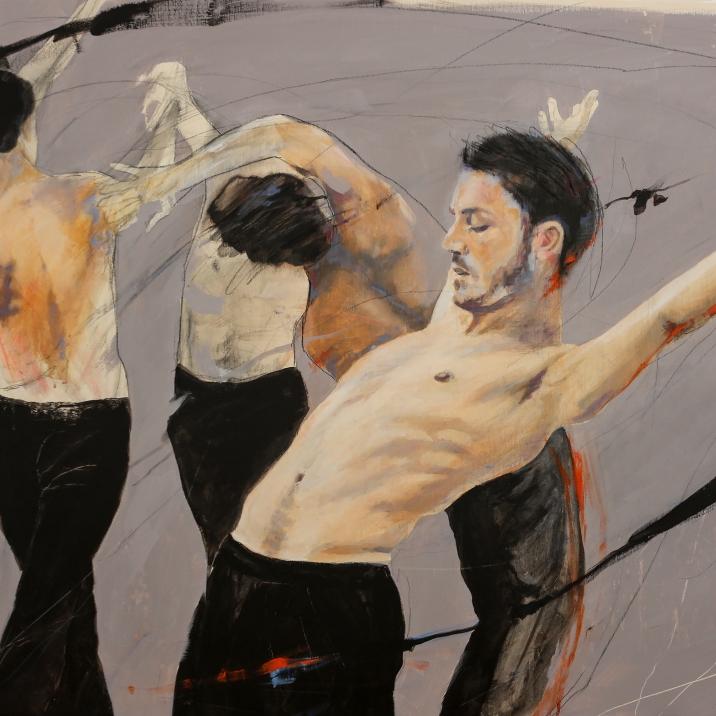 BOLERO, acrylic and pastel on canvas, 70x100 cm