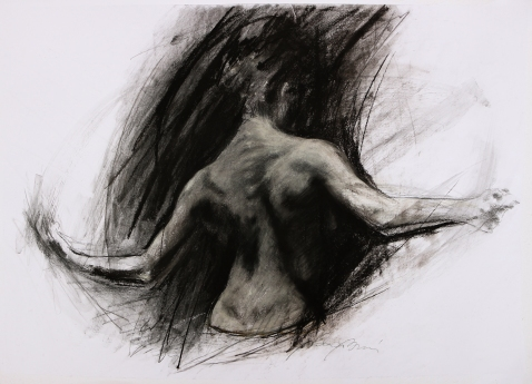 DARK PARADISE (SOLD), charcoal and chalk on paper, 50 x 70 cm