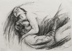 HUG, charcoal on paper, 50x70cm