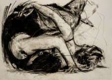 YOUR EMBRACE (SOLD), charcoal and chalk on paper, 50 x 70 cm